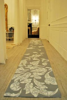 Sylvie from Metamorfaux used our Donatella Damask stencil within her own damask leaves to create this stunning custom floor runner for the NYC Holiday House and mega-designer Vicente Wolf.
