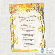 fall bridal shower invitation fall leaves fall wedding tree rustic wedding wedding shower