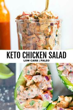 Mexican Chicken Salad *NEW*Make this EASY keto chicken salad recipe because you're tired of plain low carb salads for lunch, or because it's SO creamy delicious, versatile, and never gets old! Serve it over avocado for a real WIN! Mexican Chicken Salads, Low Carb Chicken Salad, Chicken Salad Recipes, Healthy Salad Recipes, Low Carb Recipes, Salad Chicken, Vegetarian Recipes, Vegetarian Dish, Pasta Recipes