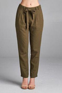 Ladies fashion linen long pants w/ tie waistband