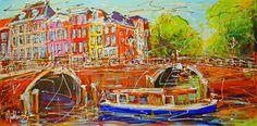 Nu in de #Catawiki veilingen: Mathias - Canal of Amsterdam, two bridges and blue boat
