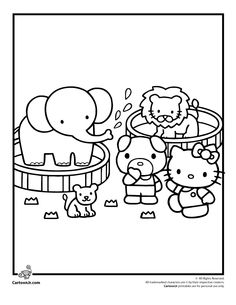 Hello Kitty At The Circus Coloring Page