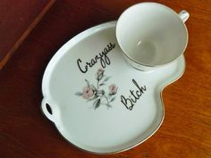 Crazyass Bitch hand painted vintage teacup and by trixiedelicious