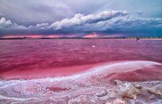 Pink Lake in Spain Laguna Rosa