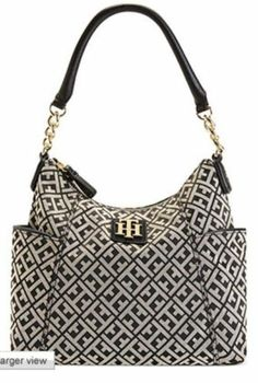 Tommy Hilfiger Bombay Bucket Bag Black Cream Logo Purse | eBay