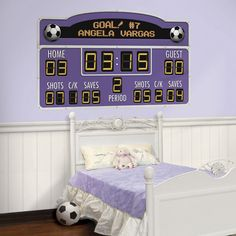 Fun and easy to use, the Personalized Soccer Scoreboard peel & stick decal is all the rage in kids wall decor.  Customize all the details...including the color!