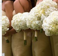 Hydrangea bouquets.... Full, cheap, big impact.