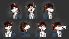 Expression sheet commission for BetaWolfsky on Tumblr, featuring his character Beta! Expressions in order: Happy, confused, sad, angry, embarrassed, goofy and flirty!