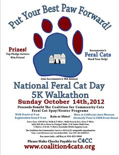 Oct 14th - help out Sacramento's Feral Cat Colonies at National Feral Cat Day 5K Walkathon benefiting the Coalition for Community Cats