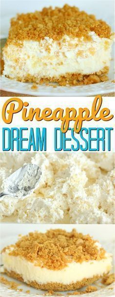 No-Bake Pineapple Dream Dessert is like a taste of summer! Cream cheese, pineapple, whipped topping and graham crackers makes an easy dessert! Pineapple Dream Dessert Recipe, Pineapple Desserts, Pineapple Cheesecake, Churro Cheesecake, Pineapple Recipes, No Cook Desserts, Summer Desserts, Easy Desserts, Frozen Desserts