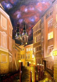 Street with torches, Prague by Jan Kasparec.