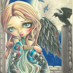 My battle weary angel from Jasmine Beckett Griffiths Coloring Book.