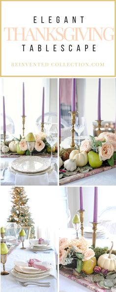 Romantic Thanksgiving Table Settings Ideas.... A French country style blended with woodland themes and mixed metallic elements.