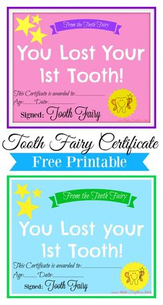 Tooth Fairy Certificate Free Printable