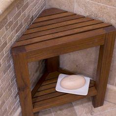 For down stairs shower Belham Living Corner Teak Shower Bench with Shelf - Bathtub & Shower Accessories at Hayneedle Teak Shower Stool, Teak Bathroom, Shower Benches, Shower Stools, Wood Shower Bench, Shower With Bench, Bath Bench, Design Bathroom, Bathroom Cabinets