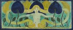 'Undine' a rare Della Robbia Art Nouveau plaque probably designed by Harold Rathbone, incised and painted with a nymph in blue, green and ye...