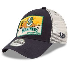 Men's Seattle Mariners New Era Navy 2018 Spring Training Patched 9FORTY Adjustable Trucker Hat