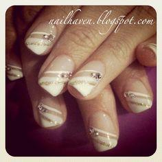 diamond stripe french manicure