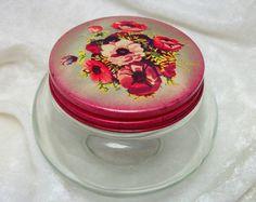 Glass Vanity Jar with Floral Lid - Vintage 40s Decor