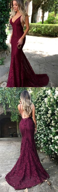 Amazing Lace Maroon Prom Dresses 2018 V Neck Spaghetti Strap Long Evening Dress Lace Burgundy Prom Evening Dress Formal dresses  #burgundypromdresses #fulllacepromdresses #mermaidpromdresses #prom #dresses #longpromdress #promdress #eveningdress #promdresses #partydresses #2018promdresses