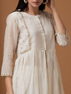 Off White Zardozi Embroidered Chanderi Jacket with Pants - Set of 2 Dress Neck Designs, Stylish Dress Designs, Designs For Dresses, Stylish Dresses, Blouse Designs, Pakistani Fashion Casual, Pakistani Dresses Casual, Pakistani Dress Design, Salwar Designs