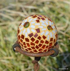 Rosenkugel orange weiß 8 cm Roseball