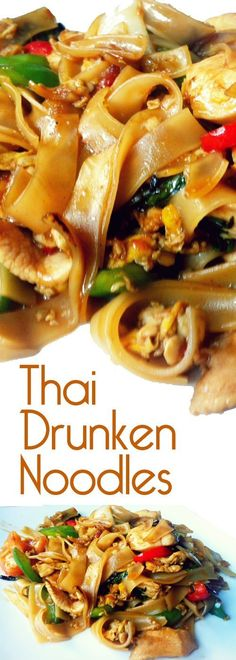Thai drunken noodles- There isn't a drop of alcohol in this dish — the name refers to how much you'll want to drink to combat the heat. We suggest a nice cold beer or sparkling wine. Vegetarian Recipes, Cooking Recipes, Healthy Recipes, Pasta Dishes, Food Dishes, Food Food, Thai Dishes, Thai Drunken Noodles, Al Dente