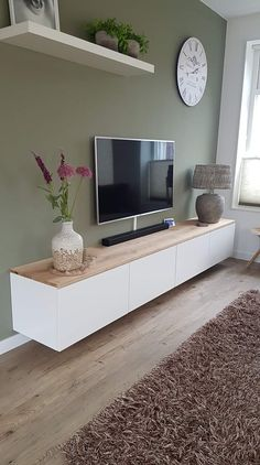 TV unit high-gloss white with solid oak top - TV furniture # living room . - TV unit high-gloss white with solid oak top – TV furniture # living room - Living Room Decor Tv, Living Room Tv Unit, Living Room Lighting, Home Living Room, Living Room Designs, Budget Living Rooms, Paint Colors For Living Room, Decor Room, Small Living Rooms