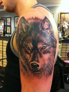 yet another wolf tattoo by jrunin.deviantart.com on @DeviantArt