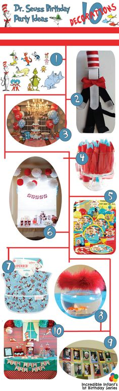 Dr. Seuss Birthday Party Ideas - Decorations http://www.incredibleinfant.com