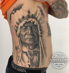 Sitting bear Indian chief tattoo
