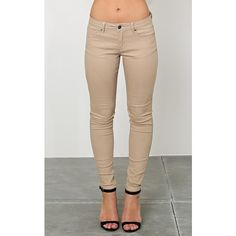 Styles For Less Sienna Skinny Twill Pants ($20) ❤ liked on Polyvore featuring pants, khaki, khaki trousers, super skinny pants, lightweight pants, skinny leg pants and twill pants