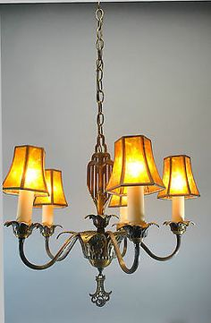 vintage art deco 5 arm chandelier light fixture in bronze tone original finish