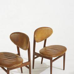 Grete Jalk; Teak and Leather Dining Chairs for Jacob Kjaer Mobelhaandvaerk, 1953.