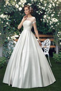 Reißverschluss a linie Gefaltet bodenlanges Brautkleid