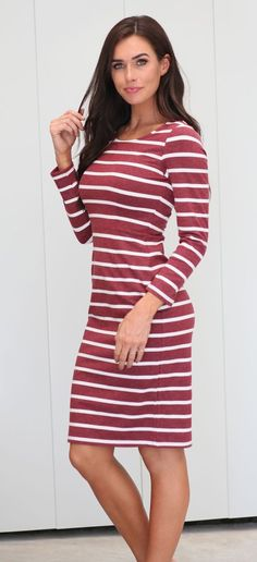 a2ae0d4d272d burgundy, stripe, burgundy dress, modest dress, mikarose, long sleeves,  teacher