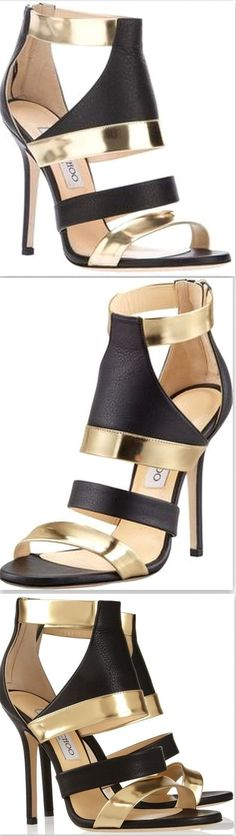 Gold Besso Textured and Mirrored Leather Sandals