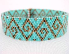 art deco peyote stitch patterns | Peyote Pattern - Swirls - INSTANT D OWNLOAD PDF - Peyote Stitch ...