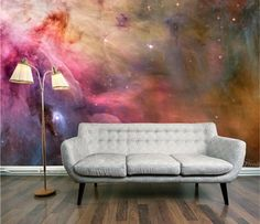 Grey Sofa and Abstract Colorful Graffiti Wall Murals Stickers in Modern Living Room Paint Decorating Ideas