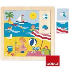 Puzle de madera encajable Verano 16 piezas - Goula