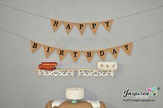 Happy Birthday Banner Burlap Bunting Hessian Garland Party Celebrations Black