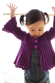 Finished 1/27/12! Ribbed Cardigan from Little Crochet by Linda Permann. Made in a deep red cotton for AJ.