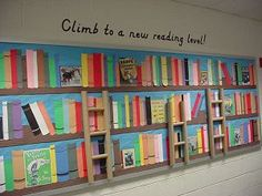I'm turning our very large library bulletin board into this and giving the students the Empty Shelf Challenge!!