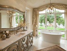 mirrored bathroom vanity Bathroom Mediterranean with beige countertop beige curtain