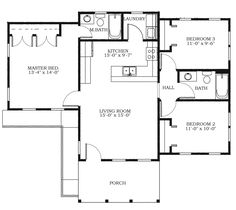Allison Ramsey Architects | Floorplan for The Harrington Street Cottage - 1041 square foot house plan # C0380