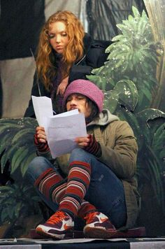 Heath Ledger & Lily Cole on the set of The Imaginarium of Doctor Parnassus