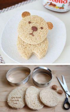 Nutella Bear Sandwiches Tutorial/recipe!  Food_drink #diy_crafts #nutella #bear #cute #kids #sandwich #food #thecakebar #dessert http://thecakebar.tumblr.com/post/25953529590/bear-nutella-sandwiches