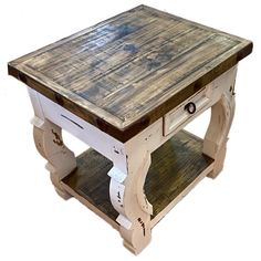 The Shenandoah End Tablefeatures a white distressed finish, nail head trim, and curved legs. It is a beautiful accent piece. Refurbished End Tables, Old End Tables, Painted End Tables, Farmhouse End Tables, Rustic End Tables, Cool Tables, Country Farmhouse Decor, Farmhouse Style, Rustic Furniture