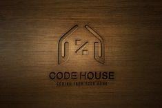 Code House Logo Design - Brannet Market Professional Logo Design, Home Logo, Coreldraw, Say Hi, Business Logo, High Quality Images, Simple Designs, Orange Color, Acting