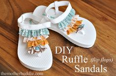 Ruffle Flip Flop Tutorial so stinkin' cute! and the lady who created them also has about 5 other flip flop refashion tutorials. Flip Flop Sandals, Flip Flops, Kids Sandals, Navy Sandals, Cheap Sandals, Dollar Store Crafts, Diy Clothing, Sewing Tutorials, Diy Tutorial